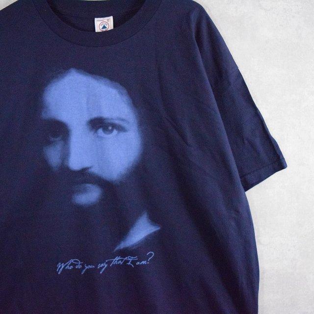 画像1: who do you say that I am? ジーザスプリントTシャツ XL (1)