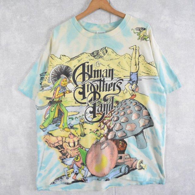 画像1: 90's The Allman Brothers Band USA製 タイダイ×大判プリント ロックバンドTシャツ XL (1)