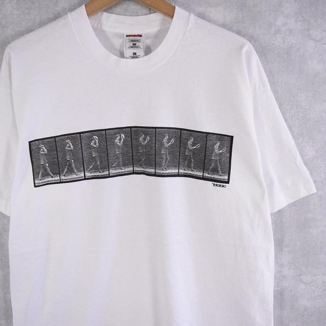 """画像1: 90's EADWEARD MUYBRIDGE USA製 """"MAN TIPPING HAT"""" アートプリントTシャツ XL (1)"""
