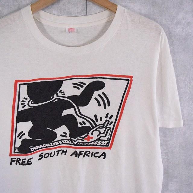 """画像1: 80's Keith Haring USA製 """"FREE SOUTH AFRICA"""" アートプリントTシャツ L (1)"""