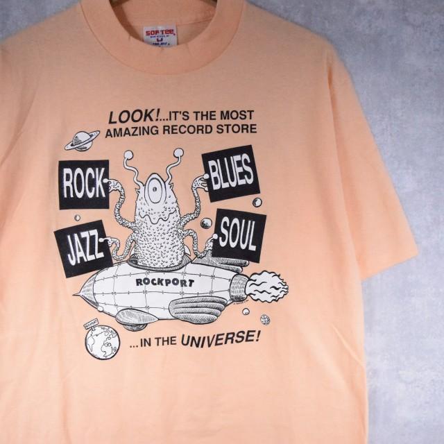 画像1: 80's ROCKPORT RECORDS USA製 レコードショップ プリントTシャツ L (1)
