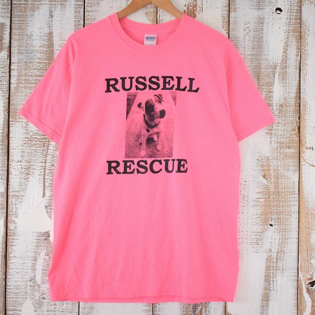 画像1: ● 【SALE】 RUSSELL RESCUE 犬フォトプリントTシャツ L (1)
