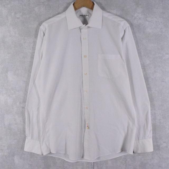 画像1: 80's Yves Saint-Lauren ロゴ刺繍 ドレスシャツ (1)