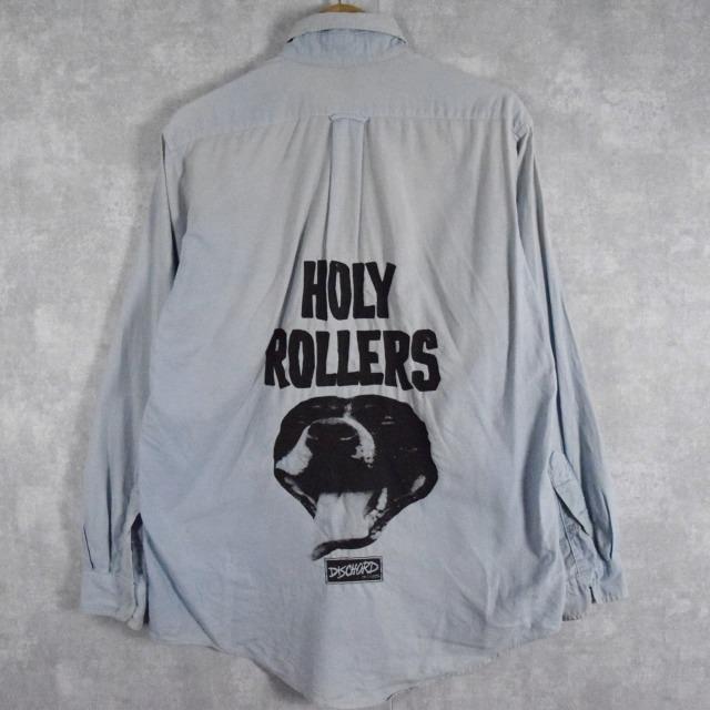 """画像1: 90's USA製 DISCHORD RECORDS """"HOLLY ROLLERS"""" インディーレコードレーベル プリントシャンブレーシャツ 16-34 (1)"""
