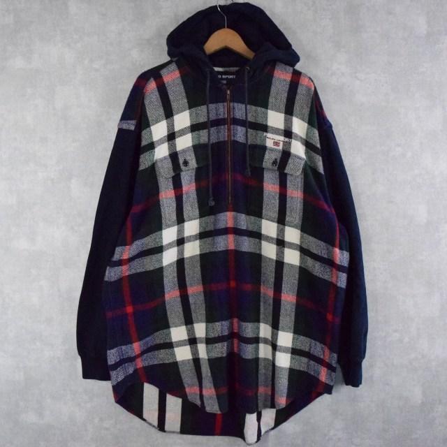 画像1: 90's POLO SPORT Ralph Lauren ロゴ刺繍 フード付き プルオーバーヘビーネルシャツ L (1)