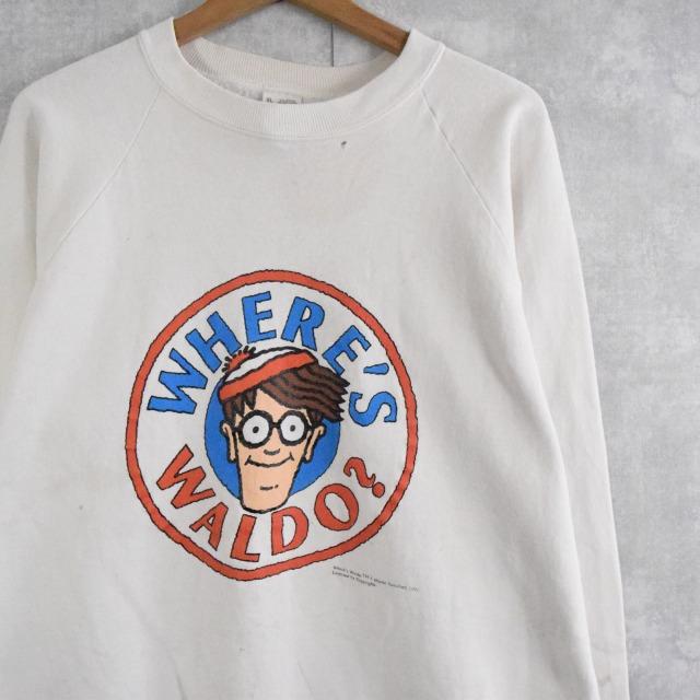 画像1: 90's WHERE'S WALDO? USA製 絵本キャラクタープリントスウェット XL (1)