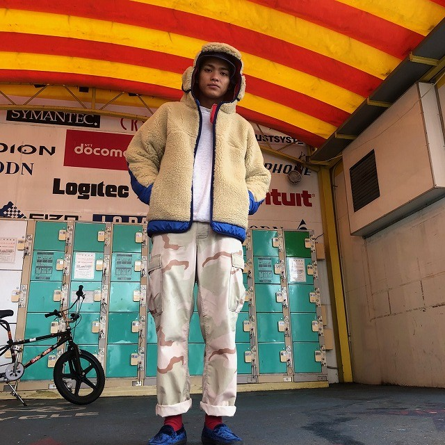 "画像1: COMFY OUTDOOR GARMENT ""RABBIT HOODIE"" BEIGE×BLUE 【L】 (1)"
