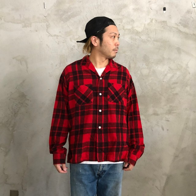 画像1: 【SALE】 60's Leesure Wear by Lee チェック柄 プリントネル ボックスシャツ (1)
