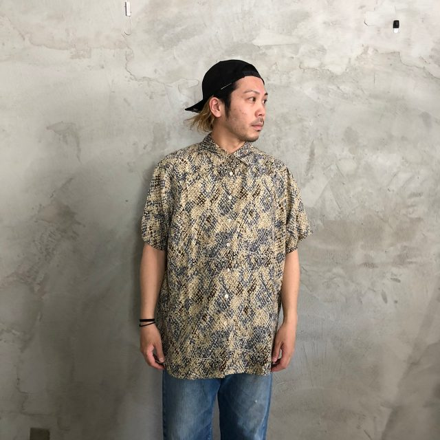 画像1: クロコダイル柄シルクシャツ (1)