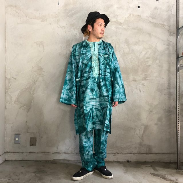 画像1: タイダイ柄 刺繍プルオーバーシャツ&パンツ SETUP (1)